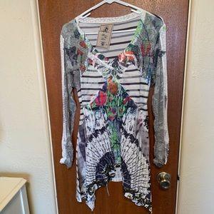 - Fluer De Lis  asymmetrical tunic